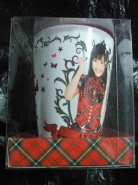 AKB48 渡辺麻友 まゆゆ プリント デザイン メラミンカップ コップ ホワイト ピンク < タレントグッズの