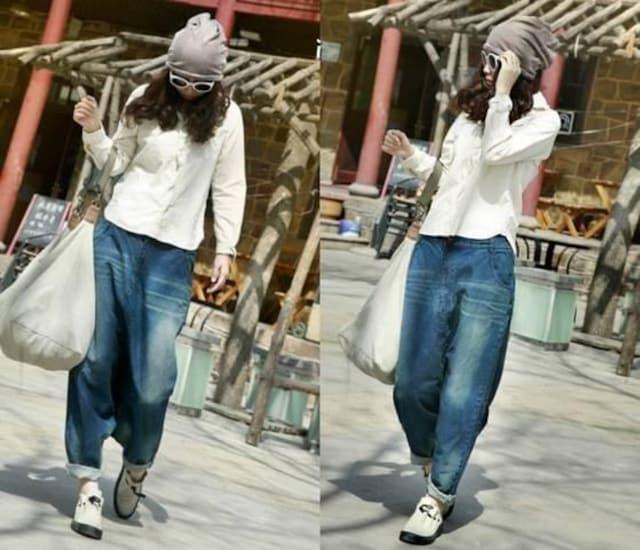 ももんが★ゆったりタイプ★デニム★ハーレムパンツ(Mサイズ) < 女性ファッションの