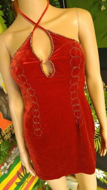 激エロッ(*^ー^)カップ入&ビーズ刺繍◆ホルターベロアミニワンピ < 女性ファッションの