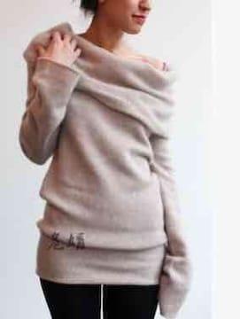 「新品」レディース オフタートル セーター Lサイズ 茶鼠色