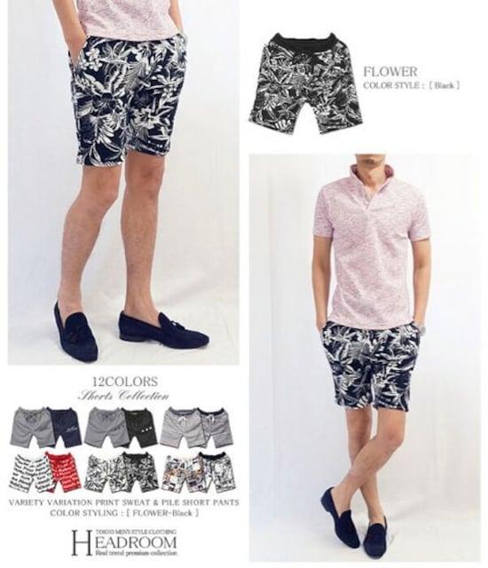 メンズ 花柄 フラワー スウェット ショートパンツ ハーフパンツ  < 男性ファッションの