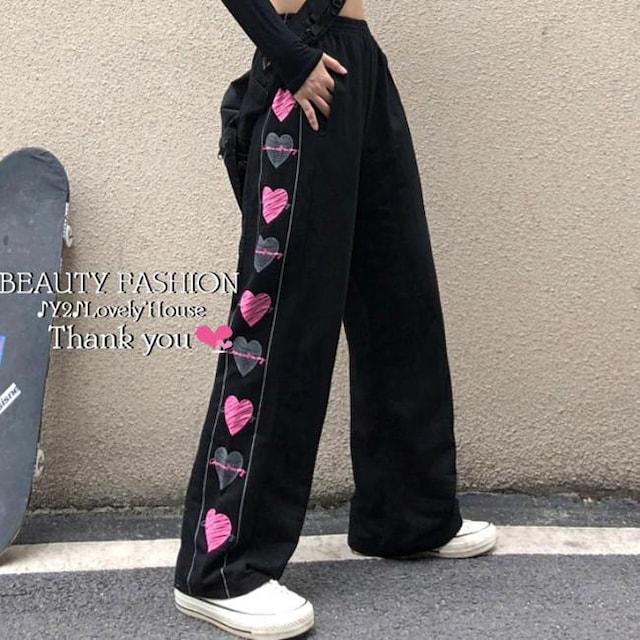 〜3L4L*両サイドハートプリント総ゴムスウェットパンツ* < 女性ファッションの