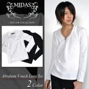 【MIDAS/ミダス】ワンポイントロゴ刺繍無地VネックロンTカットソー