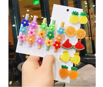 フルーツ&お花モチーフ 5種類*10個入  ヘアピン  韓国デザイン