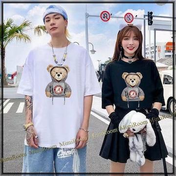 男女兼用!〜4L【大きいサイズ】クマちゃん立体フード紐 Tシャツ/白