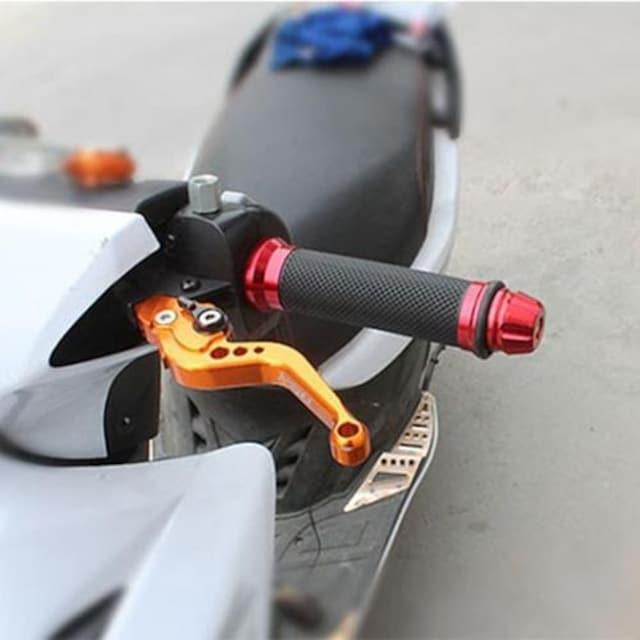 アルミ合金 バイク用 ハンドルグリップ ゴールド 左右セット < 自動車/バイク