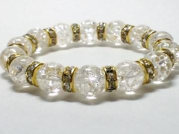 爆裂クラック水晶クリスタル§金ロンデル§10ミリ数珠