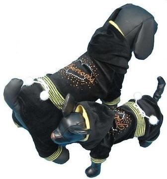 J53)XSサイズ!ストーン付ベロアジャージつなぎ黒ブラック犬服セレブ