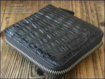 ゴダン spcw8002cpブラッククロコ革折財布