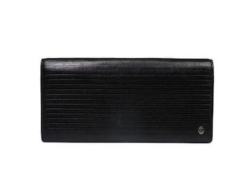 正規カルティエパシャ長財布二つ折りレザーストライプ黒型