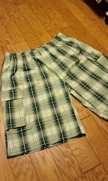 LA!SHAKAデザインチェックカーゴハーフパンツ 緑系 3XL XXXL �I 大きい