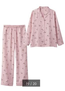 GU・シャム猫キャットスター柄ピンクサテン長袖パジャマ