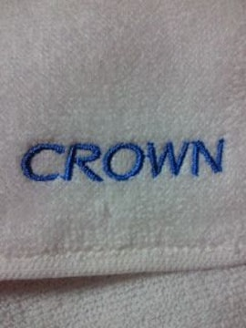 TOYOTA トヨタ自動車 CROWN クラウン 刺繍 今治タオル タオル地 ハンカチ ホワイト