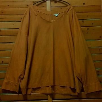 ●studio CLIP●リネン*レーヨン Vネックブラウス 4L オレンジブラウン