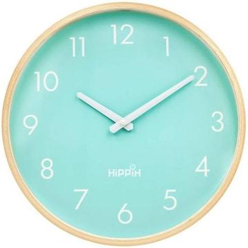 インテリア 掛け時計 アナログ 木製 コンパクト ブルー
