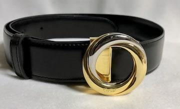 正規 Cartierカルティエ トリニティーリングバックルベルト黒 シルバー×ゴールド 調節可