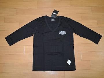 新品CRIMIEクライミー7分丈カットソーS黒VネックロンTシャツ