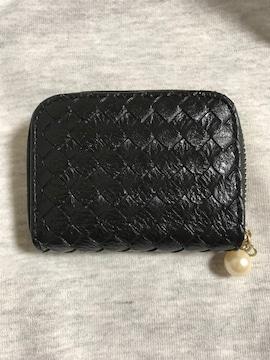 財布 ウォレット 編込み コンパクト パール 真珠 mini ミニ ブラツク