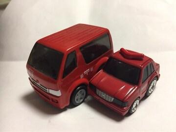 チョロQ・トヨタハイエース郵便、トヨタ クラウン消防指揮車。