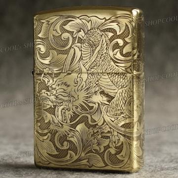 四面総彫り 龍 和彫り オイルライター CHIEF ゴールド zippo 金