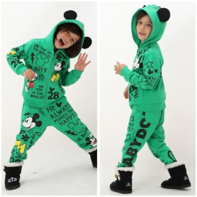 新品BABYDOLL☆140 ディズニー ミッキー パンツ グリーン ベビードール < ブランドの