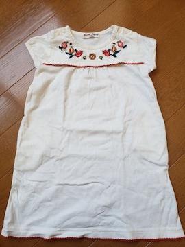 ☆新品未使用☆ベリーズベリー☆お花刺繍の半袖ワンピース☆90