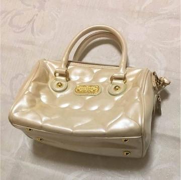 リズリサ白ホワイトハート光沢キルティングかばんミニバッグ