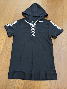Tシャツ 半袖 フード付 黒 Mサイズ