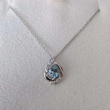 4℃ ダイヤモンド×アクアマリン ネックレス K18WG 2.4g