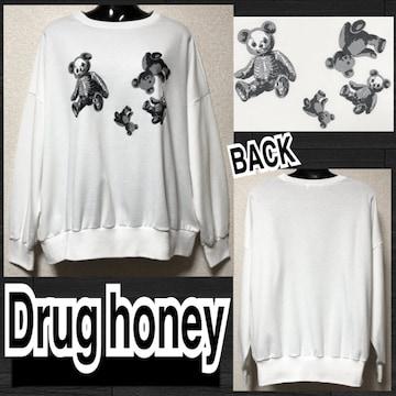 【新品/Drug honey】ゴロゴロスケルトンテディプルオーバー