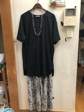LL新品かのこ素材黒裾ラウンドチュニックワンピース