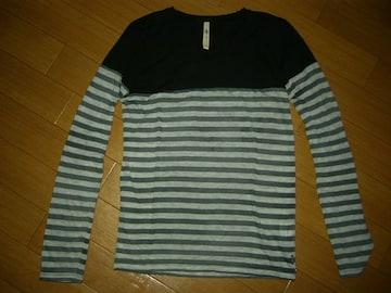 グラムglambカットソー1黒ボーダー切替ロンTシャツ