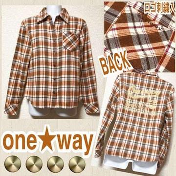 【one★way】ネル素材BACKダメージロゴプリントチェック柄シャツ