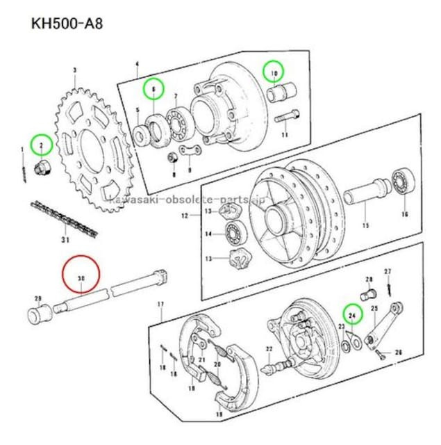 500SS KH500 H1D H1E H1F KE250 アクスルシャフト 絶版 < 自動車/バイク