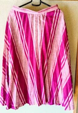 スカート 紫 W 69 フレアスカート 裏地付き パープル 膝下丈