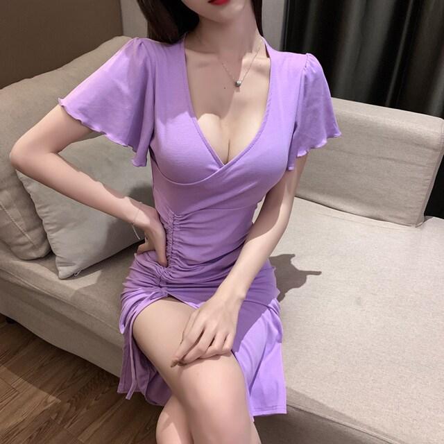 裾シャーリング*袖フレア*Vネック*カシュクール*ひざ丈ロングワンピース*紫*パープル < 女性ファッションの