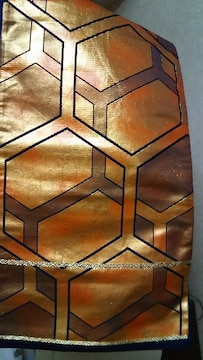 袋帯 亀甲文様 ゴールドの暈し 締め易い袋帯goood