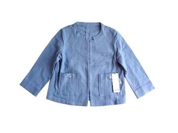 新品 JURIAE ノーカラーっぽい ジャケット 水色 ライトブルー