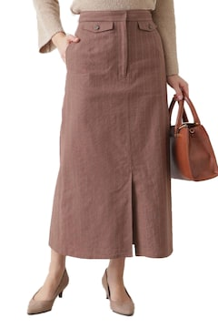 ★NATURAL BEAUTY BASIC綿麻ピンストライプスカート★