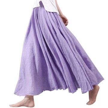 ふんわり★森ガール★マキシ丈スカート(Fサイズ、パープル)
