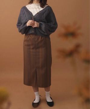 E hyphen world gallery  TRストライプベルト付スカート