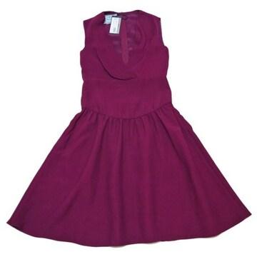 新品プラダ ドレープ ワンピースドレス 赤紫 #38 PR