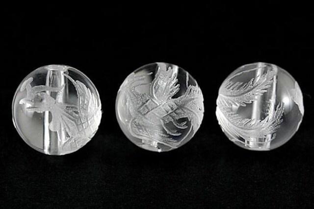 ☆鳳凰天然水晶☆10mm手彫りビーズ 1個  < ペット/手芸/園芸の