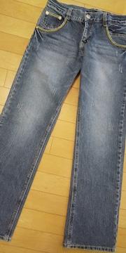 ダメージ入りデニムワイドパンツ☆刺繍付 64