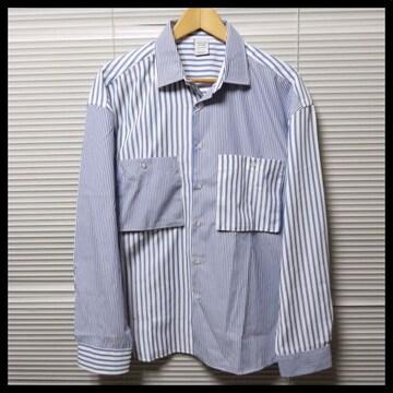 ストライプ柄クレイジー切替ビッグシャツ/BLUE/M