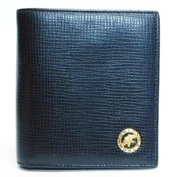 美品ハンティングワールド 二つ折り財布 レザー 黒 良品 正規品