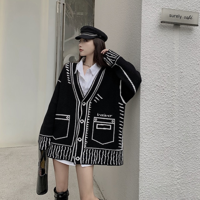 〜3L4L【F〜大きいサイズ】フェイク(だまし絵)柄☆Vネックニットカーデ < 女性ファッションの