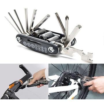 自転車工具 自転車修理セット16 in 1 マルチツール 六角レンチ