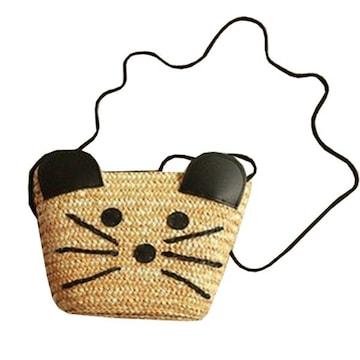 レディース バッグ かごショルダー ネズミ a950