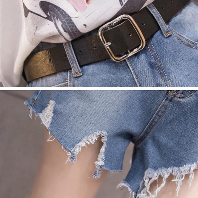 ☆切りっぱなしの裾で美脚効果♪ベルト付ダメージデニムショートパンツ/全2色 < 女性ファッションの
